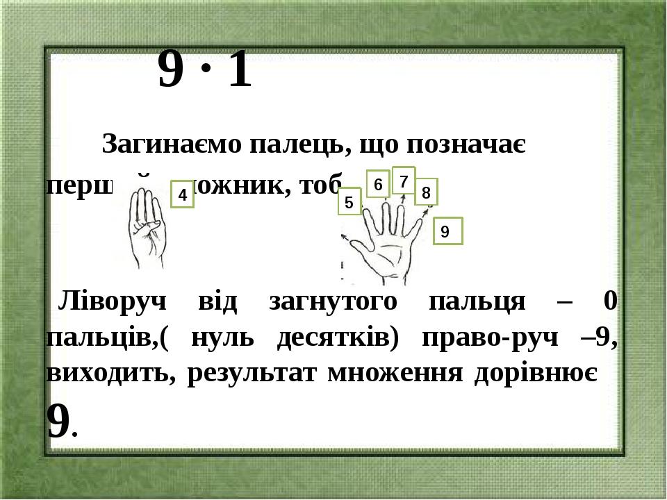 9 ∙ 1 Загинаємо палець, що позначає перший множник, тобто 1: Ліворуч від заг...