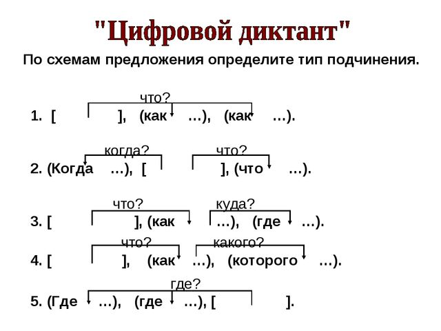 По схемам предложения определите тип подчинения.  что? [ ], (как …), (как …)...