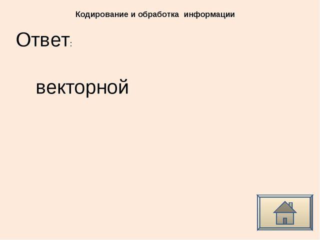 Ответ: Кодирование и обработка информации векторной