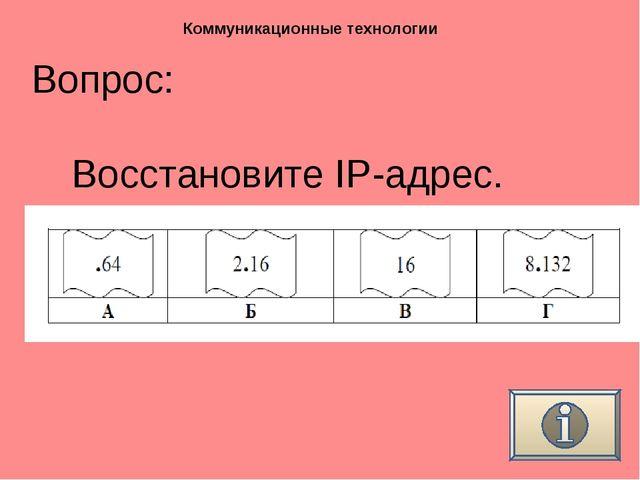 Вопрос: Коммуникационные технологии Восстановите IP-адрес.