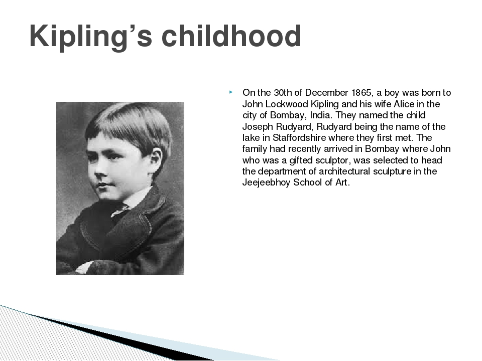 On the 30th of December 1865, a boy was born to John Lockwood Kipling and his...