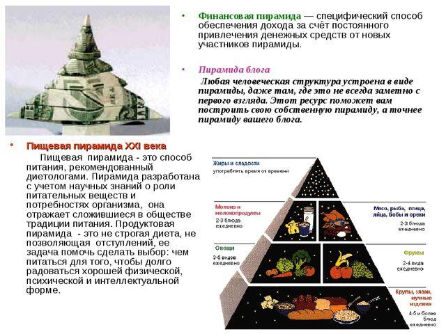 Пищевая пирамида XXI века Пищевая пирамида - это способ питания, рекомендован...