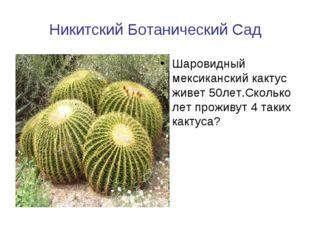 Никитский Ботанический Сад Шаровидный мексиканский кактус живет 50лет.Сколько