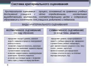 Система критериального оценивания определяет уровень сформированности знаний
