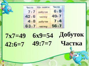 4х8=32 7х4=28 Добуток 63:7=9 56:7=8 Частка