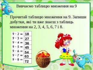 Вивчаємо таблицю множення на 9 Прочитай таблицю множення на 9. Запиши добутки