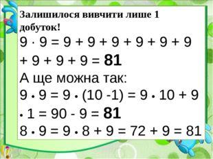 Залишилося вивчити лише 1 добуток! 9 ∙ 9 = 9 + 9 + 9 + 9 + 9 + 9 + 9 + 9 + 9
