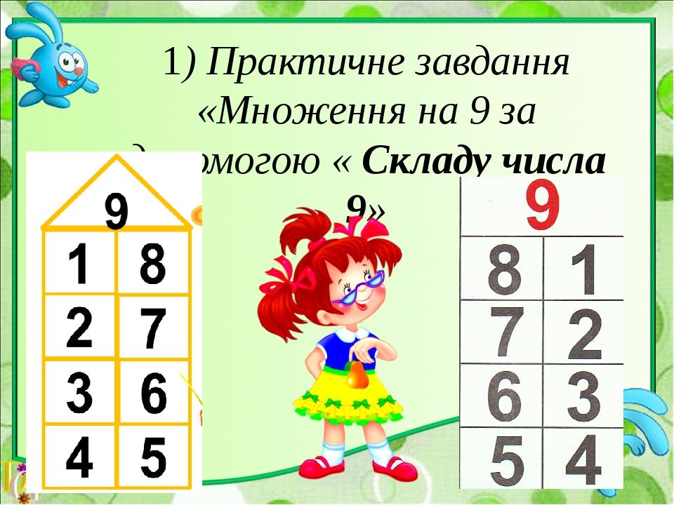 1) Практичне завдання «Множення на 9 за допомогою « Складу числа 9»