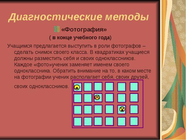 Диагностические методы «Фотография» ( в конце учебного года) Учащимся предлаг...