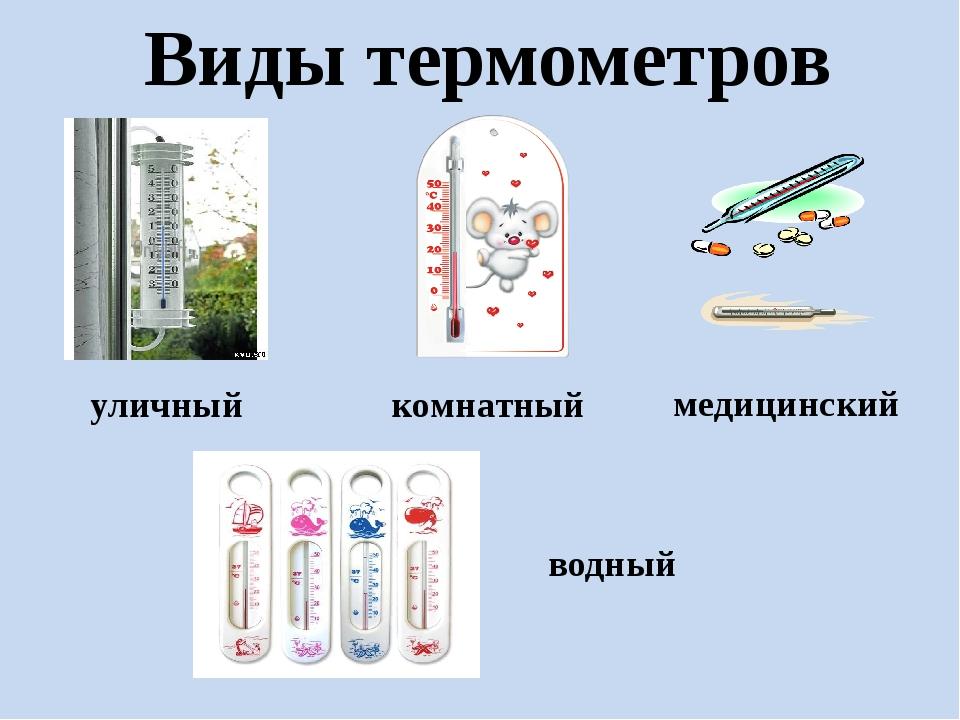 Виды термометров медицинский уличный комнатный водный