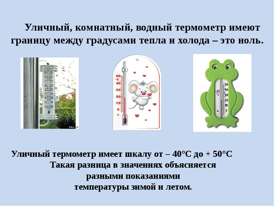 Уличный, комнатный, водный термометр имеют границу между градусами тепла и х...