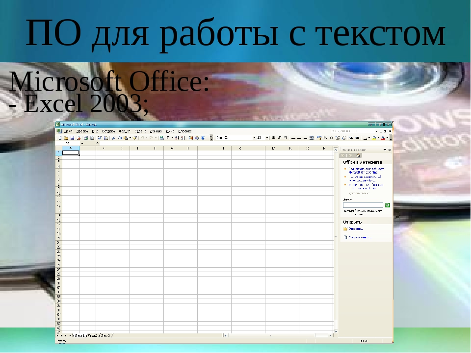 ПО для работы с текстом Microsoft Office: - Excel 2003;