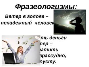 Фразеологизмы: Ветер в голове – ненадежный человек.  Бросать деньги