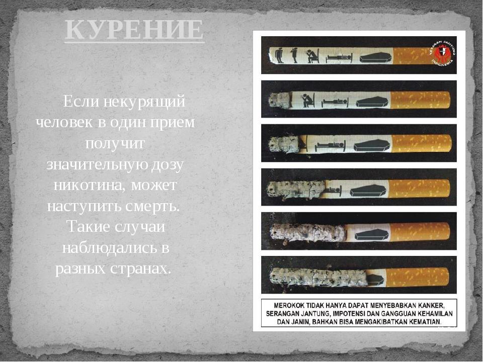 Если некурящий человек в один прием получит значительную дозу никотина, може...