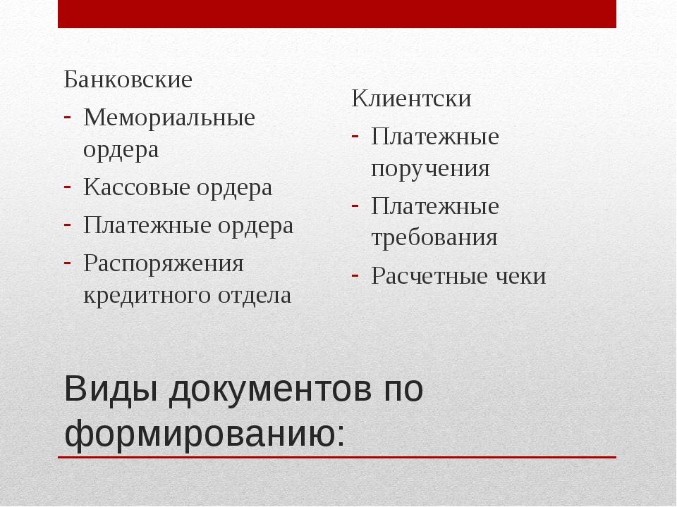 Виды документов по формированию: Банковские Мемориальные ордера Кассовые орде...