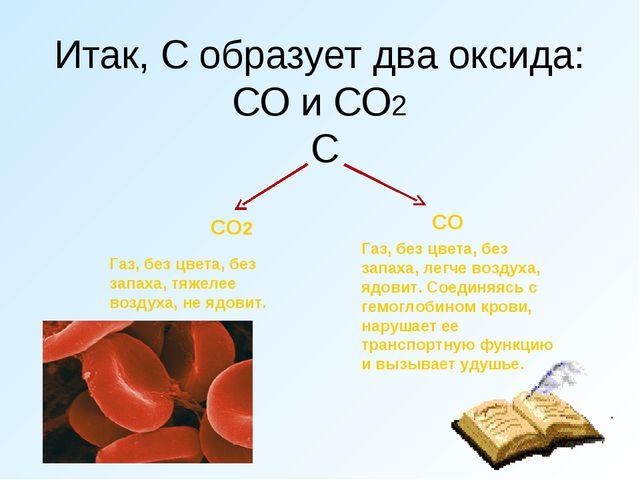 Итак, С образует два оксида: СО и СО2 С СО Газ, без цвета, без запаха, легче...
