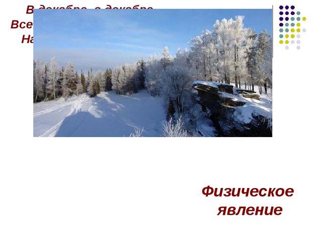 В декабре, в декабре Все деревья в серебре, Нашу речку, словно в сказке, За н...