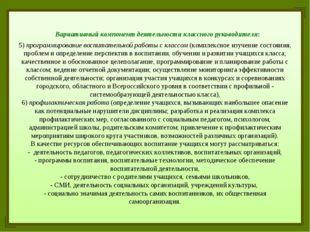 Вариативный компонент деятельности классного руководителя: 5) программирован