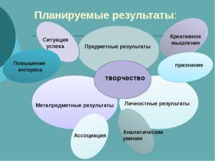 Планируемые результаты: Личностные результаты Метапредметные результаты Предм