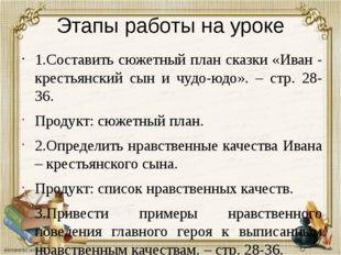 Этапы работы на уроке 1.Составить сюжетный план сказки «Иван - крестьянский с