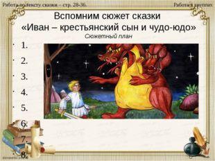 Вспомним сюжет сказки «Иван – крестьянский сын и чудо-юдо» Сюжетный план 1. 2