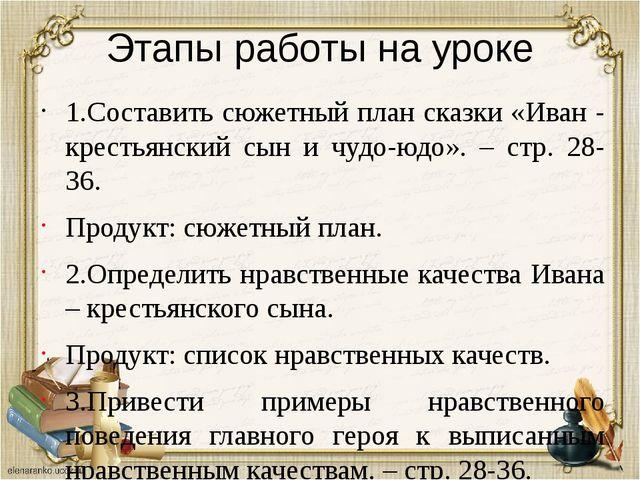 Этапы работы на уроке 1.Составить сюжетный план сказки «Иван - крестьянский с...