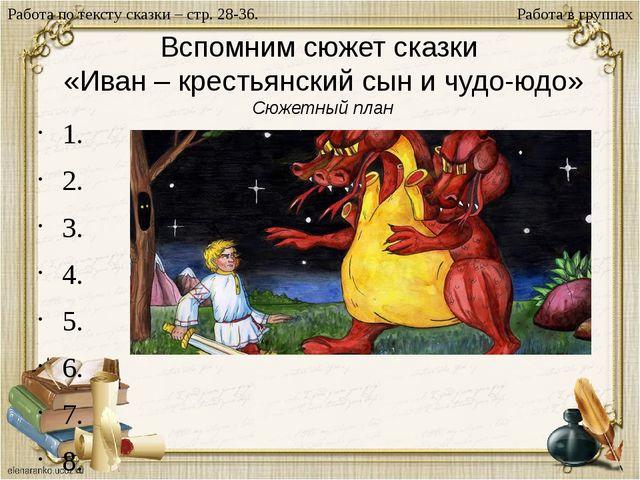Вспомним сюжет сказки «Иван – крестьянский сын и чудо-юдо» Сюжетный план 1. 2...