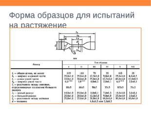 Форма образцов для испытаний на растяжение Взять образец типа II, ширина 6,2