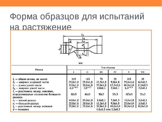 Форма образцов для испытаний на растяжение Взять образец типа II, ширина 6,2...