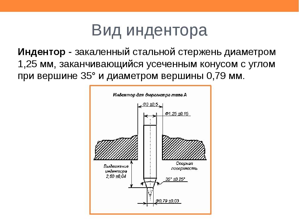 Вид индентора Индентор - закаленный стальной стержень диаметром 1,25 мм, зака...