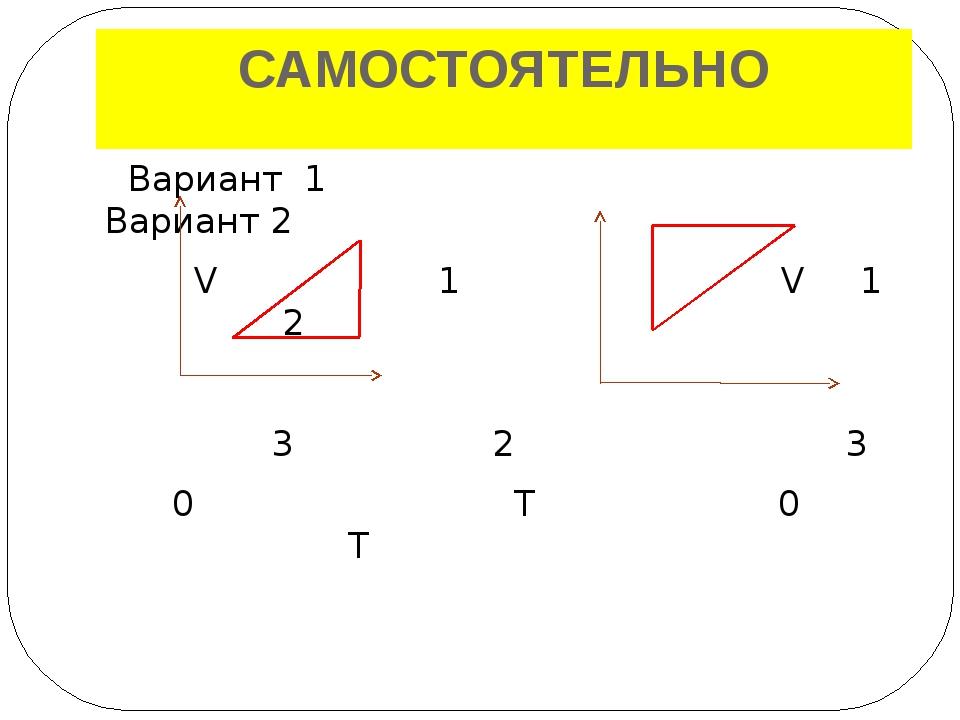 САМОСТОЯТЕЛЬНО Вариант 1 Вариант 2 V 1 V 1 2 3 0 3 2 T 0 T 1 – 2 изотермическ...