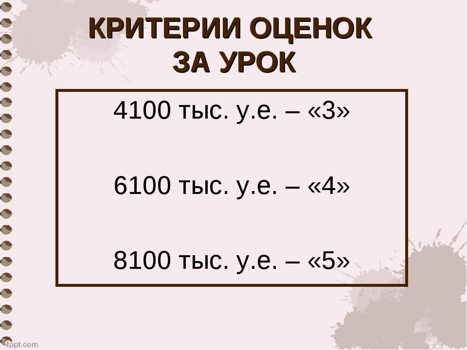 КРИТЕРИИ ОЦЕНОК ЗА УРОК 4100 тыс. у.е. – «3» 6100 тыс. у.е. – «4» 8100 тыс. у...