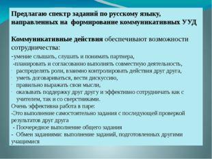 Предлагаю спектр заданий по русскому языку, направленных на формирование ко