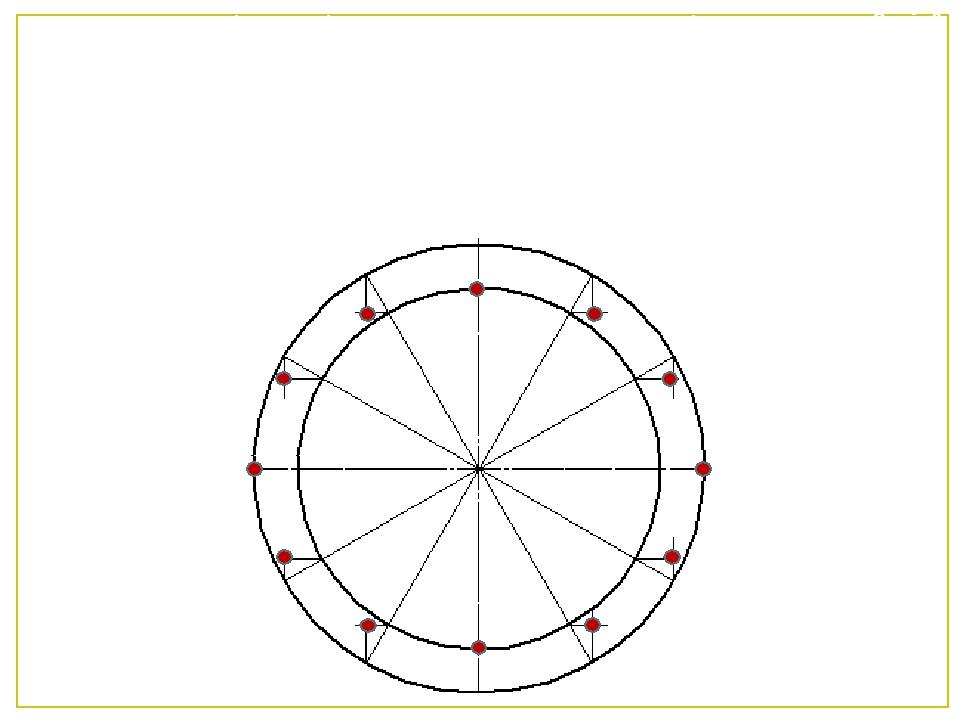 4 З точок поділу, які лежать на великому колі провести вертикальні лінії, а з...