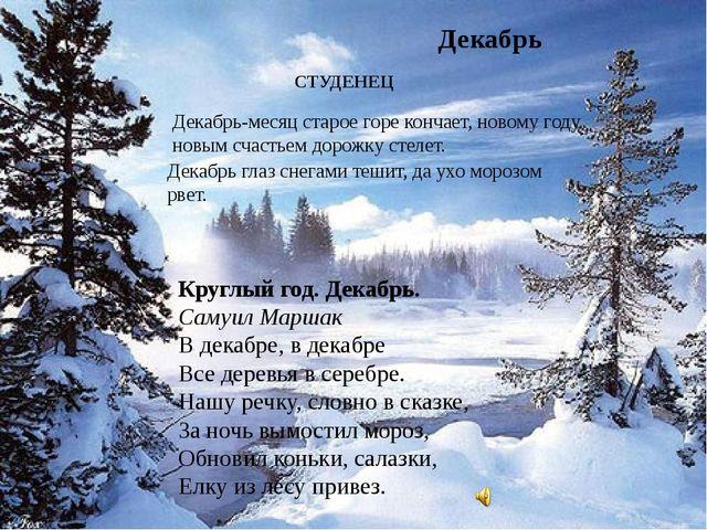 Декабрь Круглый год.Декабрь. Самуил Маршак В декабре, в декабре Все деревья...