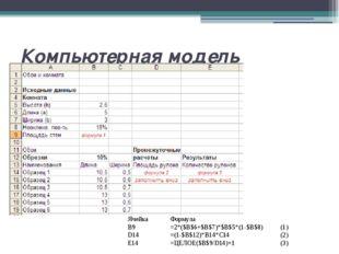 Компьютерная модель Введите формулы в расчетные ячейки. Ячейка Формула  B9 =