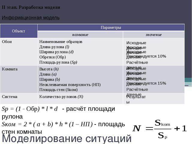 Моделирование ситуаций II этап. Разработка модели Sp = (1 - Обр) * l * d - ра...
