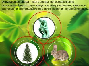 Окружающая среда - частьсреды, непосредственно окружающей некоторую живуюси