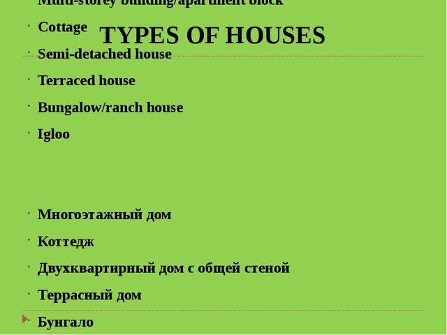 Multi-storey building/apartment block Cottage Semi-detached house Terraced ho...