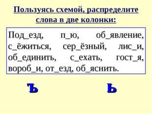 Пользуясь схемой, распределите слова в две колонки: Под_езд, п_ю, об_явление,