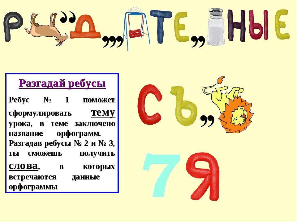 Разгадай ребусы Ребус № 1 поможет сформулировать тему урока, в теме заключено...