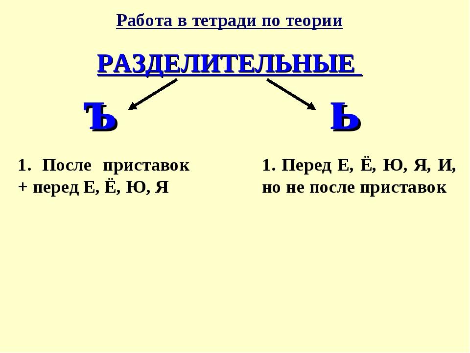 Работа в тетради по теории РАЗДЕЛИТЕЛЬНЫЕ ъ ь 1. После приставок + перед Е, Ё...