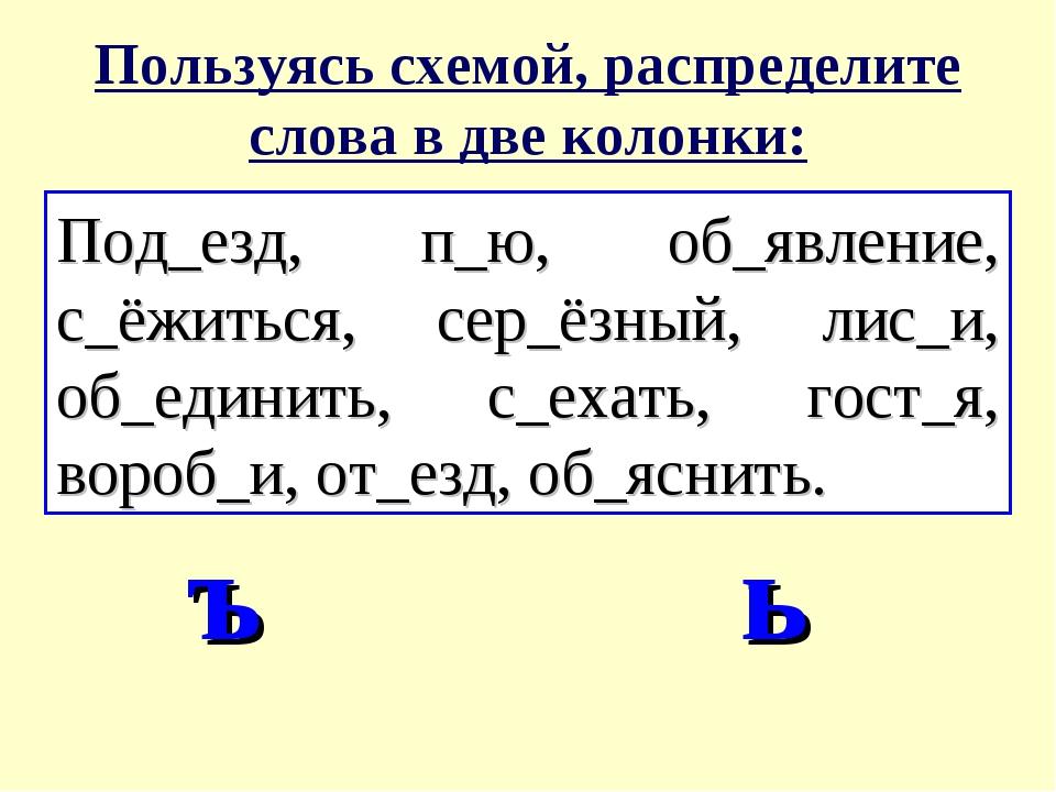 Пользуясь схемой, распределите слова в две колонки: Под_езд, п_ю, об_явление,...