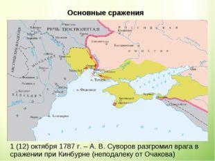Основные сражения 1(12)октября1787 г. – А. В. Суворов разгромил врага в с