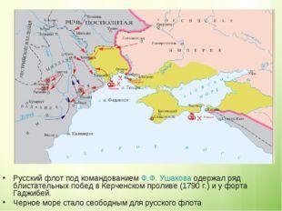 Русский флот под командованием Ф.Ф. Ушакова одержал ряд блистательных побед в
