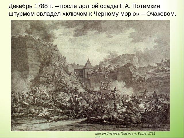 Декабрь 1788 г. – после долгой осады Г.А. Потемкин штурмом овладел «ключом к...