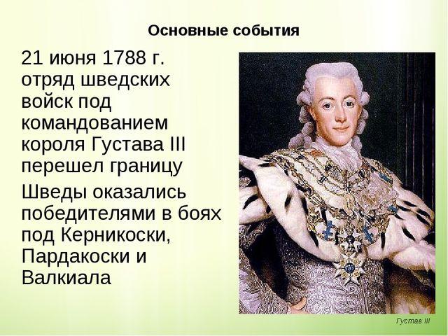 Основные события 21 июня 1788г. отряд шведских войск под командованием коро...