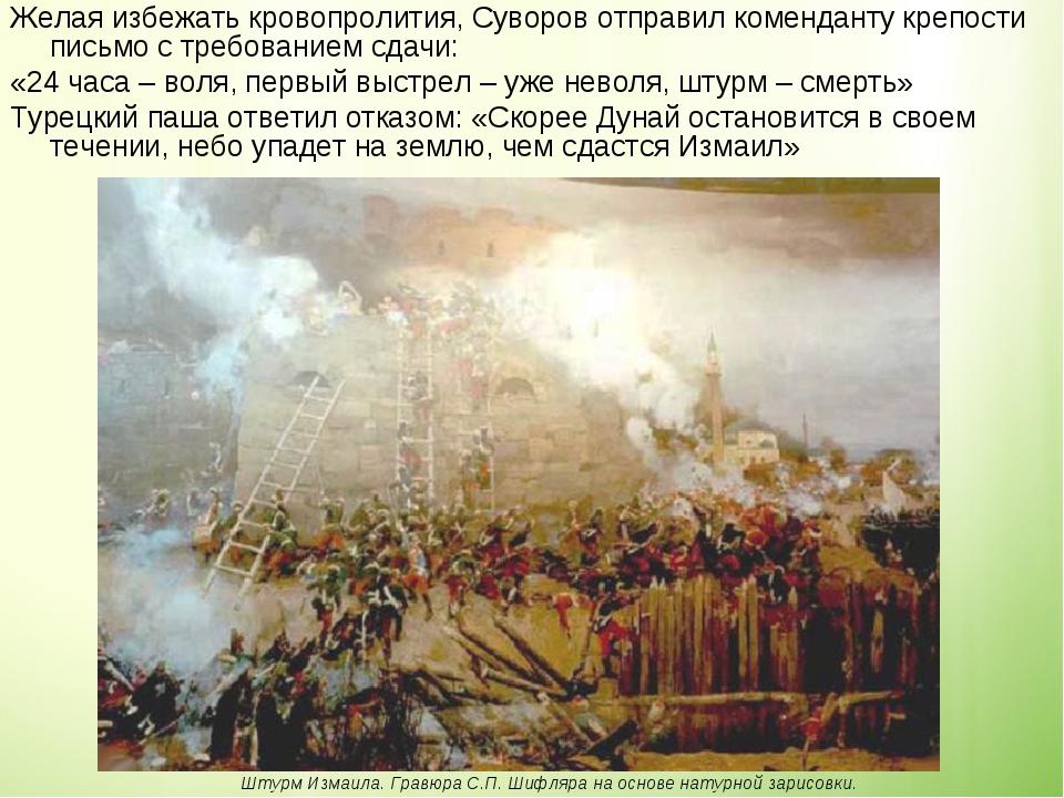Желая избежать кровопролития, Суворов отправил коменданту крепости письмо с т...