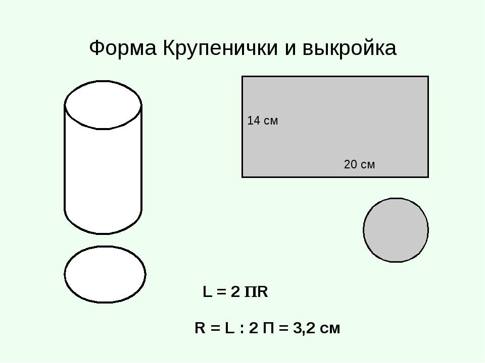 Форма Крупенички и выкройка 14 см 20 см L = 2 ПR R = L : 2 П = 3,2 см