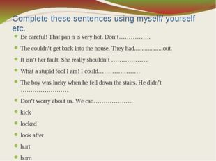 Complete these sentences using myself/ yourself etc. Be careful! That pan n i